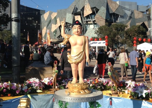 It's Buddha Birthday in Fed Square - the active heart of Melbourne. Great day!