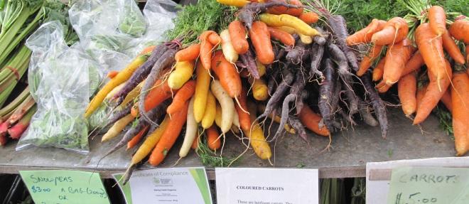 Farmers' Markets: all as fresh as fresh can be, all totally organic . . .