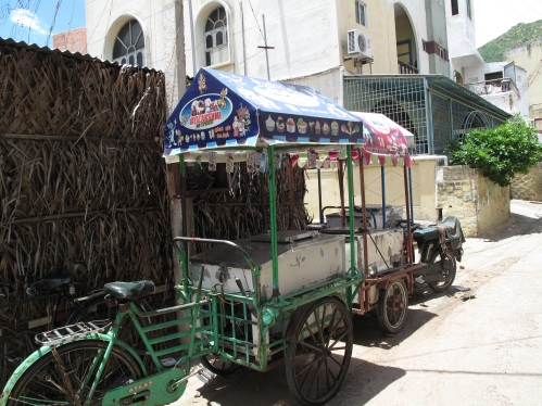 Here are mobile ice-cream shops.