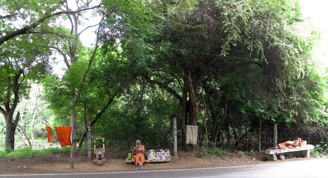 I didn't photograph this sadhu when I passed early this morning but he was sitting exactly where he now is, reading aloud from the same little book.